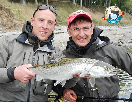 Sea trout fishing at our lodge. Omar Gade fishing guide holding a nice sea trout from Fyn